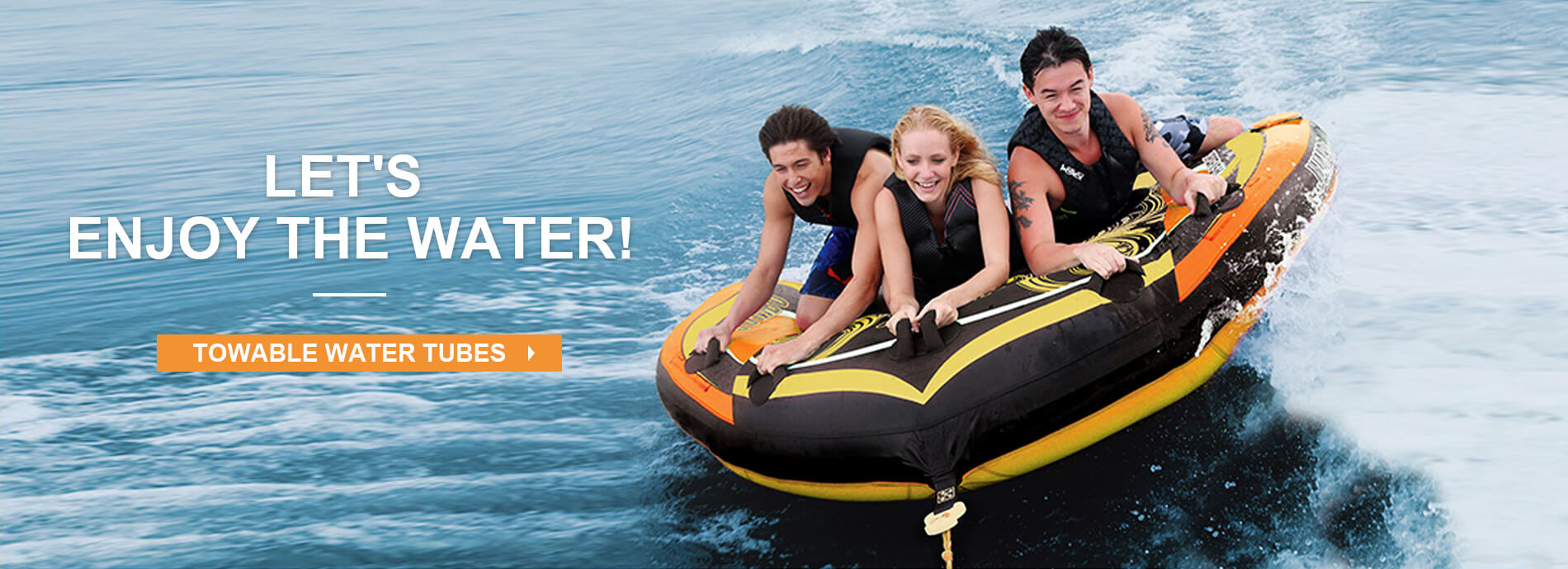 towable water tubes banner